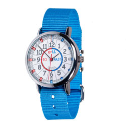 Easy Read Time Teacher Alloy Wrist Watch - Red & Blue Face - Past & To - Bright Blue Strap