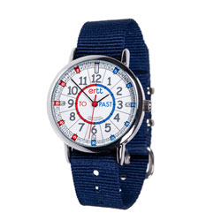 Easy Read Time Teacher Alloy Wrist Watch - Red & Blue Face - Past & To - Navy Blue Strap