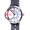 Easy Read Time Teacher Alloy Wrist Watch - Red & Blue Face - Past & To - Navy Blue Strap - ERW-RB-PT-NB