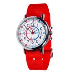 Easy Read Time Teacher Alloy Wrist Watch - Red & Blue Face - Past & To - Red Strap