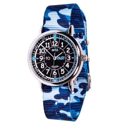 Easy Read Time Teacher Alloy Wrist Watch - Black-Blue Face - Past & To - Blue Camo Strap - ERW-BKB-PT-BC