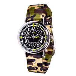 Easy Read Time Teacher Alloy Wrist Watch - Black-Green Face - Past & To - Green Camo Strap