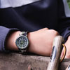 Easy Read Time Teacher Alloy Wrist Watch - Black-Green Face - Past & To - Green Camo Strap - ERW-BKG-PT-GC