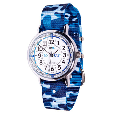 Easy Read Time Teacher Alloy Wrist Watch - White-Blue Face - Past & To - Blue Camo Strap - ERW-WB-PT-BC