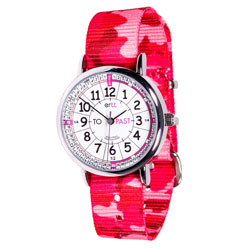 Easy Read Time Teacher Alloy Wrist Watch - White-Pink Face - Past & To - Pink Camo Strap