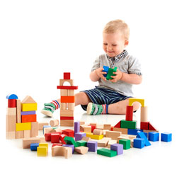 Assorted Coloured Wooden Blocks Set - Set of 100 Pieces
