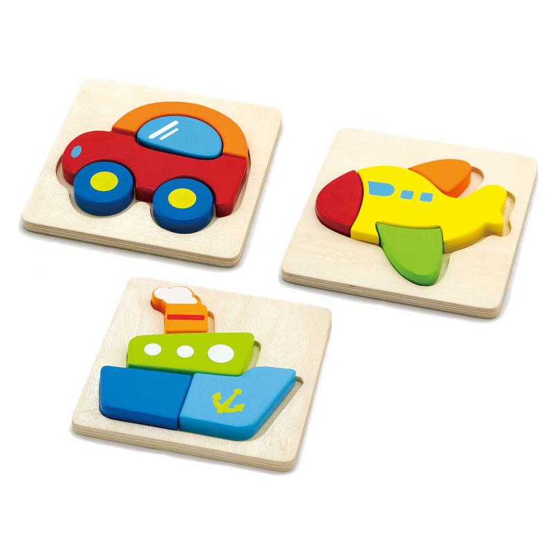 Wooden Transport Block Puzzles - Set of 3 - CD76007