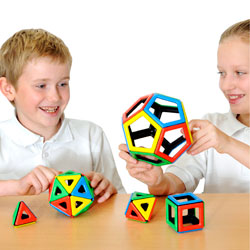 Magnetic Polydron Platonic Solids Set - Set of 50 Pieces
