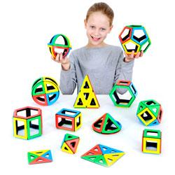 Magnetic Polydron Mathematics Set - Set of 118 Pieces