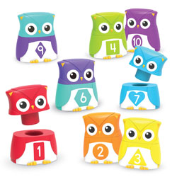 Snap-n-Learn Rainbow Owls - Set of 20 Pieces (10 Owls) - by Learning Resources