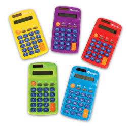 Rainbow Dual Powered Calculators - Set of 10 - by Learning Resources
