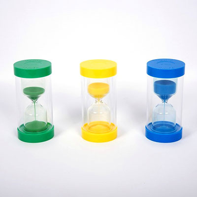 Set of 3 ColourBright Large Sand Timers - 1, 3 and 5 minutes - CD92125