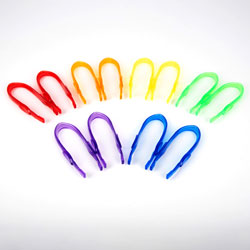 Translucent Colour Rainbow Tweezers - Set of 12