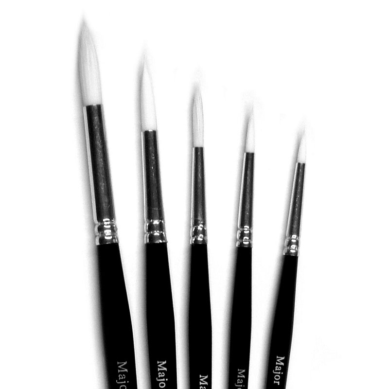 White Round Synthetic Sable Brushes - Set of 5 - MB534-5