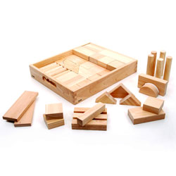 Jumbo Rubberwood Blocks - Set of 54 Pieces with Storage Tray