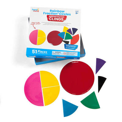 Rainbow Fraction Circles Demonstration Clings - by Hand2Mind - H2M92860