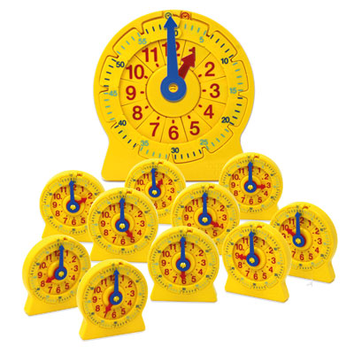 24-Hour Student NumberLine Classroom Set - 1x Demonstration Clock and 12x Student Clocks - H2M92905