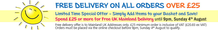 FREE DELIVERY ON ALL ORDERS OVER £20 - Limited Time Special Offer - Simply Add Items to your Basket and Save! Spend £20 or more for Free UK Mainland Delivery until 9pm, Sunday 4th August