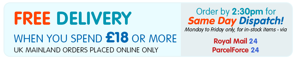 Free Delivery when you spend £18 or more - UK Mainland orders placed online only